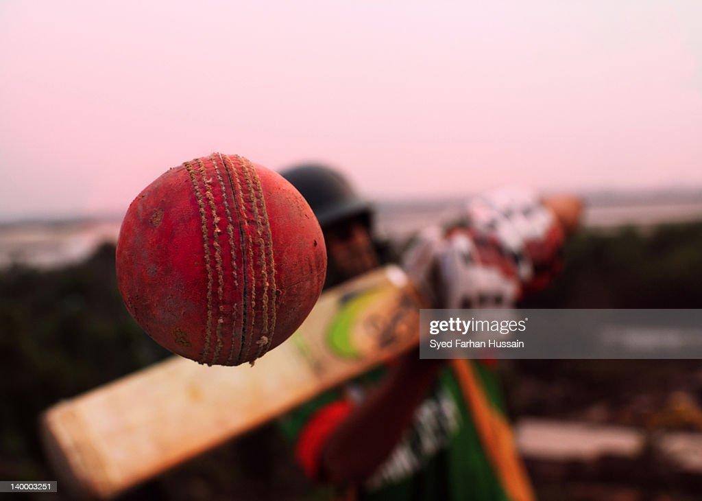 Conceptual cricket shot : Stock Photo