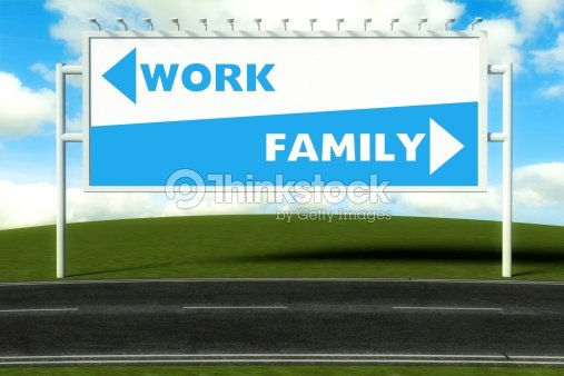 Conceptual direction signs lead to work and family : Stock Photo
