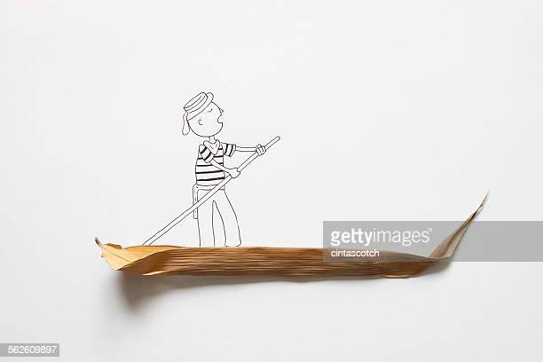 Conceptual gondolier on gondola