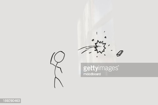 Conceptual image of stick figure breaking glass through eraser : Stock-Foto
