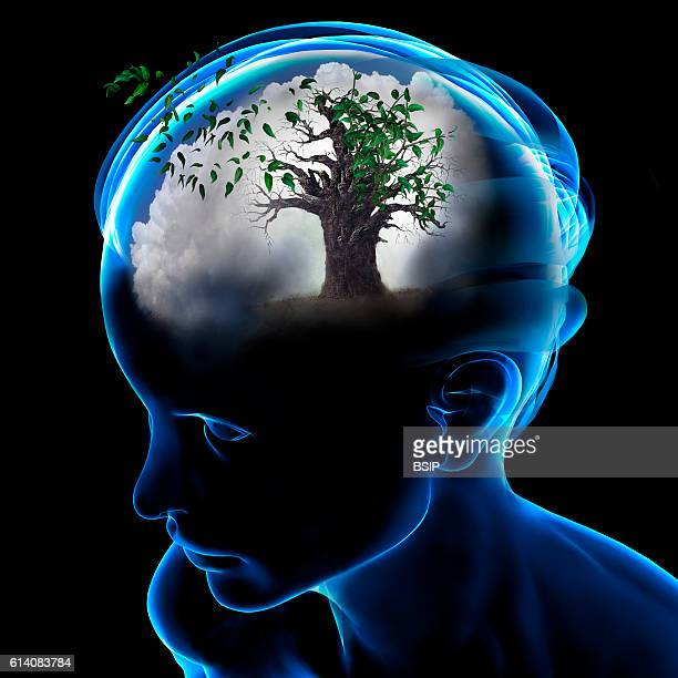Conceptual image of the brain Alzheimer forgetfulness time passing