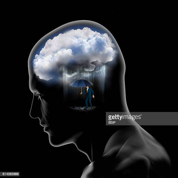 Conceptual image of the brain Psychological and emotional instability despair