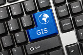 Close-up view on conceptual keyboard - GIS (blue key)