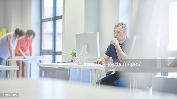 concerned businessman  in modern office