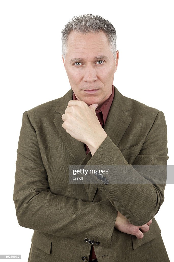 Concerned Middle Age Man With Green Suit Coat Stock Photo ...