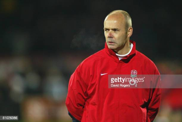 A concerned Sir Clive Woodward the England Coach looks on from the touchline during the Rugby Union International match between New Zealand and...