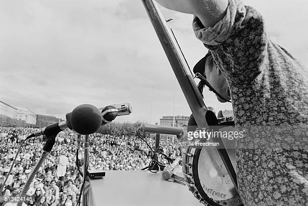 A concert at a demonstration during the Vietnam War USA 1968