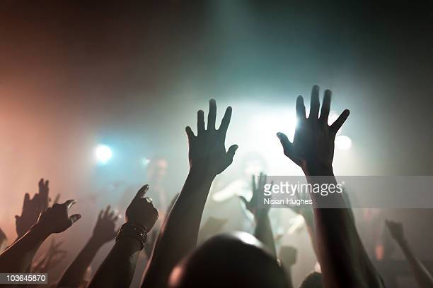 concert crowd with arms up