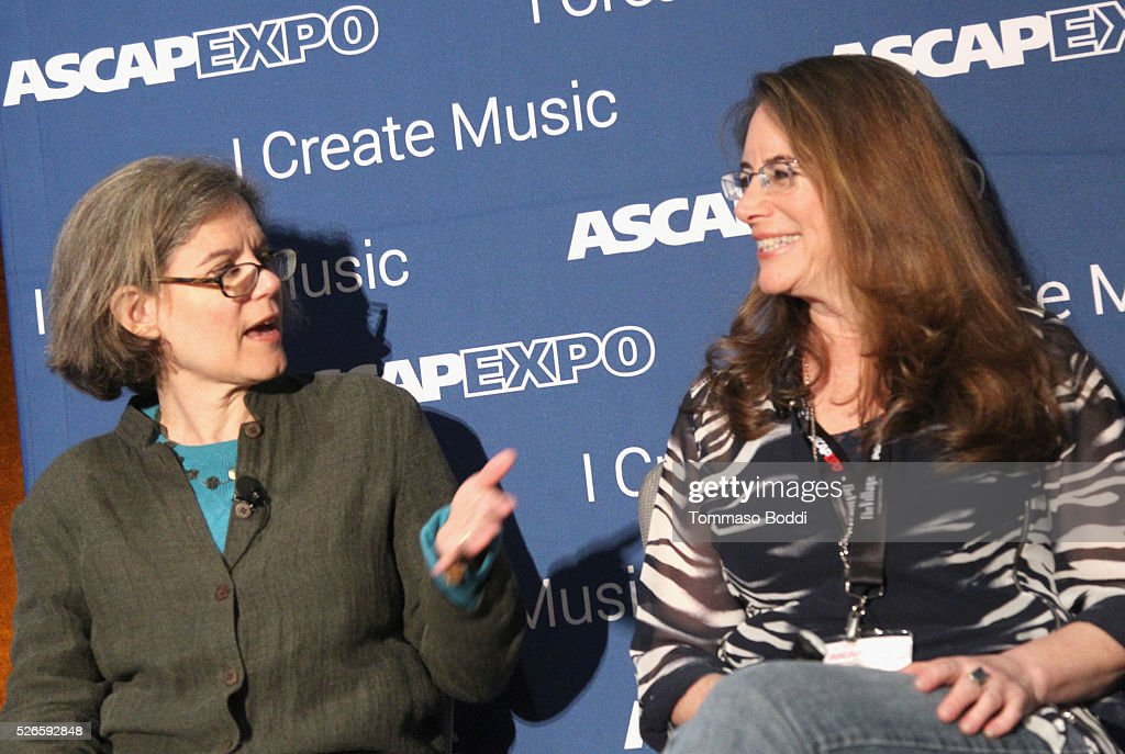 VP, Concert Music, Membership Cia Toscanini (L) and composer Alex Shapiro speak onstage at the 2016 ASCAP 'I Create Music' EXPO on April 30, 2016 in Los Angeles, California.