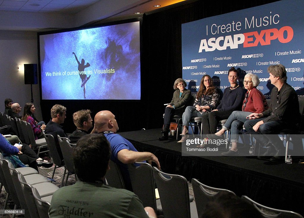 VP, Concert Music, Membership Cia Toscanini, Composers Alex Shapiro and Veronika Krausas, and Visual Director, Designer, Animators Candace Reckinger and Michael Patterson speak onstage at the 2016 ASCAP 'I Create Music' EXPO on April 30, 2016 in Los Angeles, California.