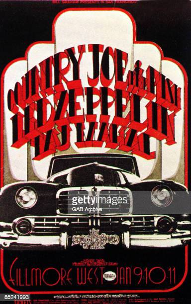FILLMORE AUDITORIUM Photo of LED ZEPPELIN and CONCERT POSTERS and COUNTRY JOE The FISH and TAJ MAHAL Concert poster for Fillmore West show starring...