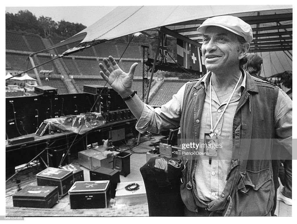 Concert promoter Bill Graham backstage at the Waldbuhne in Berlin before the Bob Dylan concert