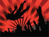 Concert red hot background with radiating sun type rays