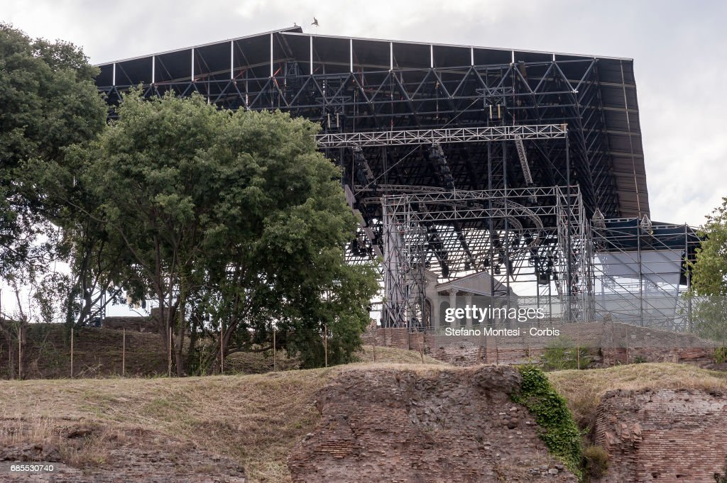 A concert structure is seen amidst Roman archeological structures at Colle Palatino on May 19, 2017 in Rome, Italy. The structure, which can accomodate over 3000 spectators, will host the rock opera 'Divo Nerone.' In a Vatican newspaper article, the Roman Observer, former superintendent Adriano La Regina, defined the concert structure as 'an Insult to the archaeological landscape.'