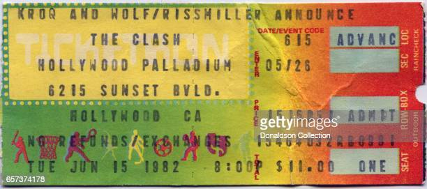 A concert ticket for The Clash concert at the Hollywood Palladium for June 15 1982 in Los Angeles California