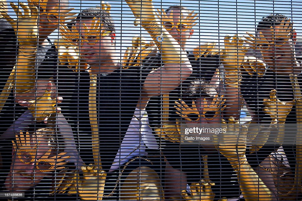 Concert-goers at the FNB stadium on November 30, 2012, in Johannesburg, South Africa. Fans arrived to queue for the monster pit at the Lady Gaga concert in Soweto.