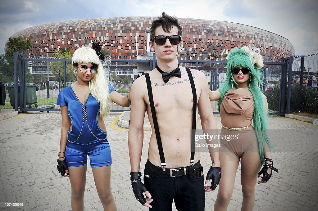Concert-goers at the FNB stadium on November 30, 2012, in Johannesburg, South Africa. Fans arrived early to queue for the monster pit at the Lady Gaga concert in Soweto.