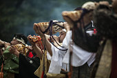 Conch blowers mark the end of the Generals' Meeting during the Soma Nomaoi festival in Minamisoma Fukushima Prefecture Japan on Saturday July 23 2016...