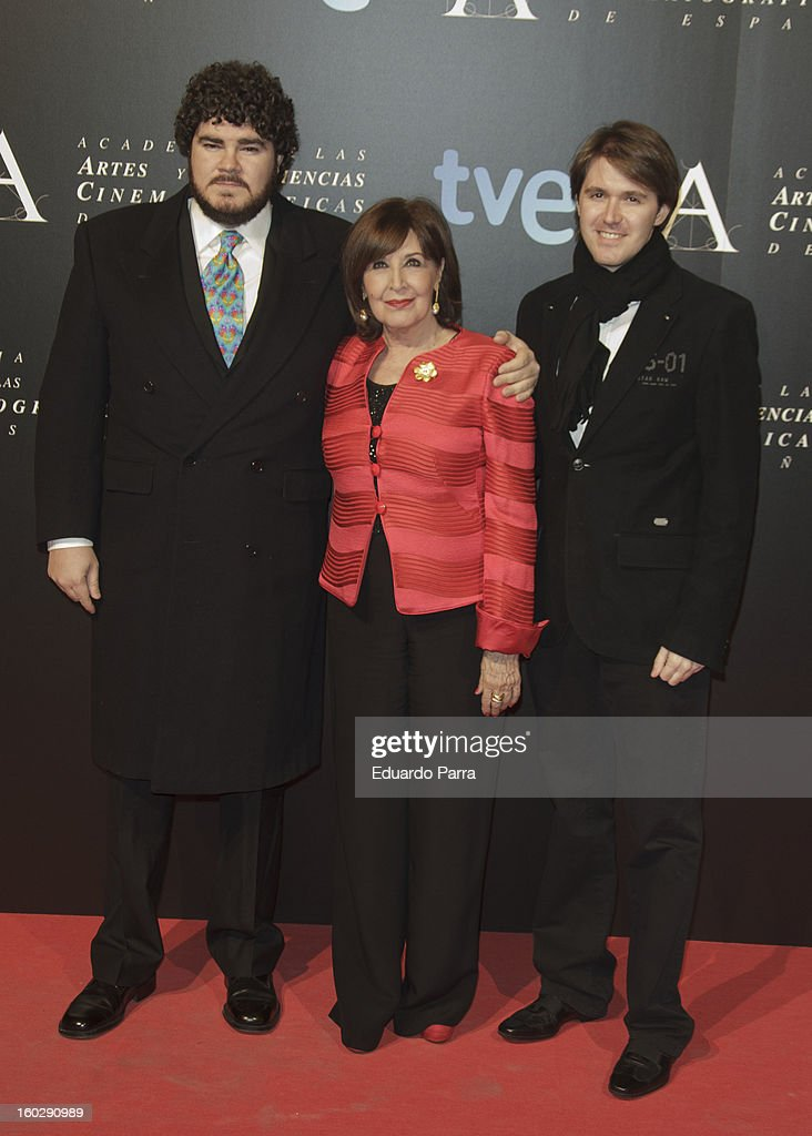 Concha Velasco (C) and her sons attends Goya awards final candidates party photocall at El Canal theatre on January 28, 2013 in Madrid, Spain.