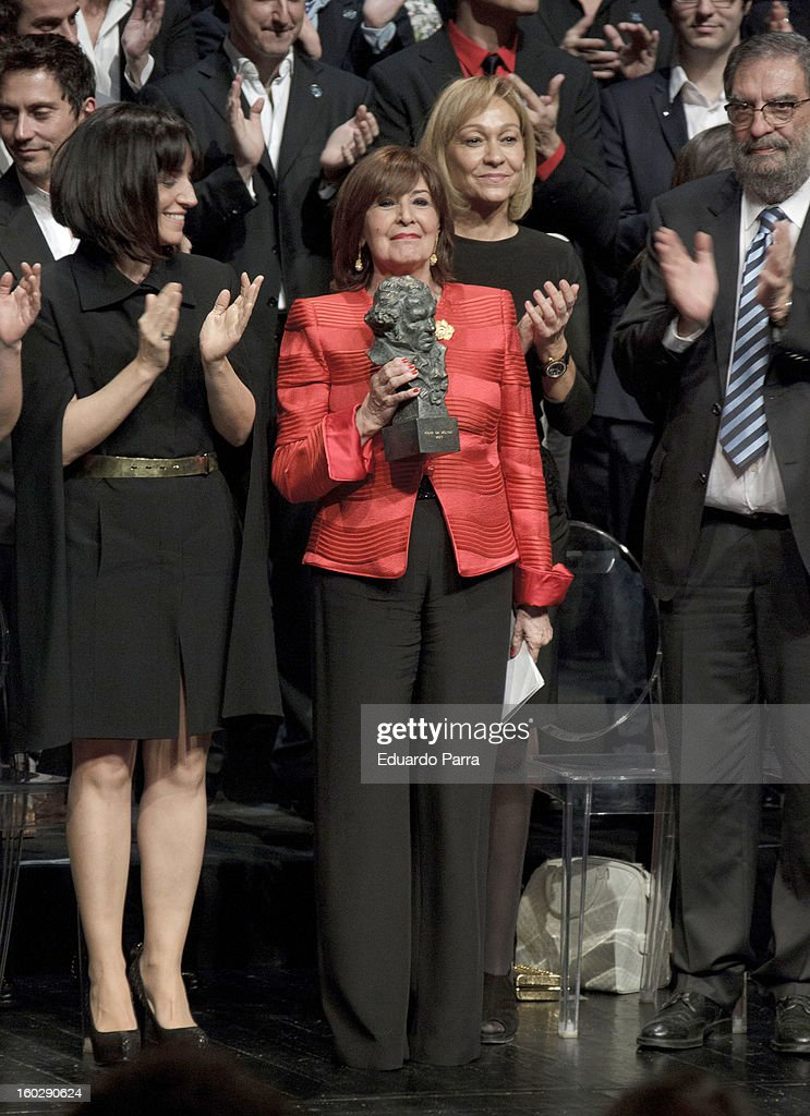 Concha Velasco receives an honorary Goya award for her career at El Canal theatre on January 28, 2013 in Madrid, Spain.