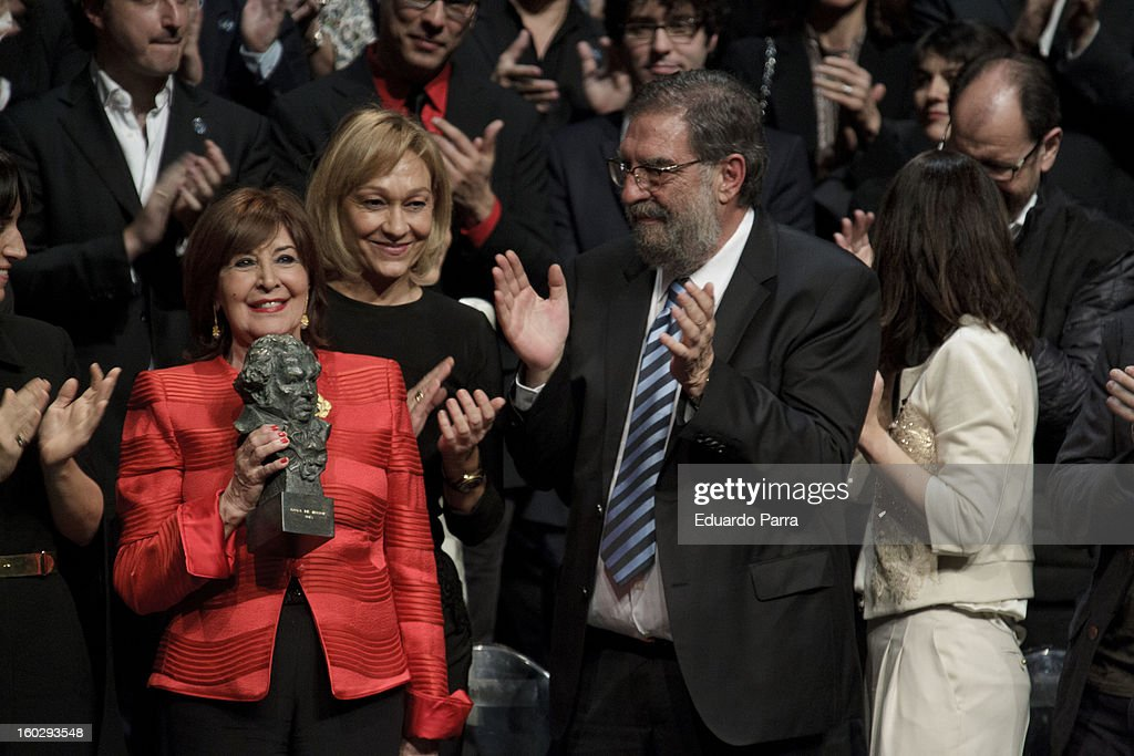 Concha Velasco receives an honorary Goya award for his career at El Canal theatre on January 28, 2013 in Madrid, Spain.