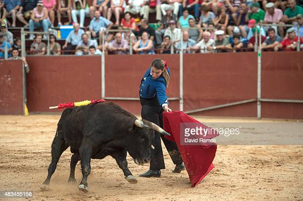 Conchi Rios performs during a bullfight at a mobile bullring on August 6 2015 in Villanueva De La Jara Spain It is thought there are no more than 10...