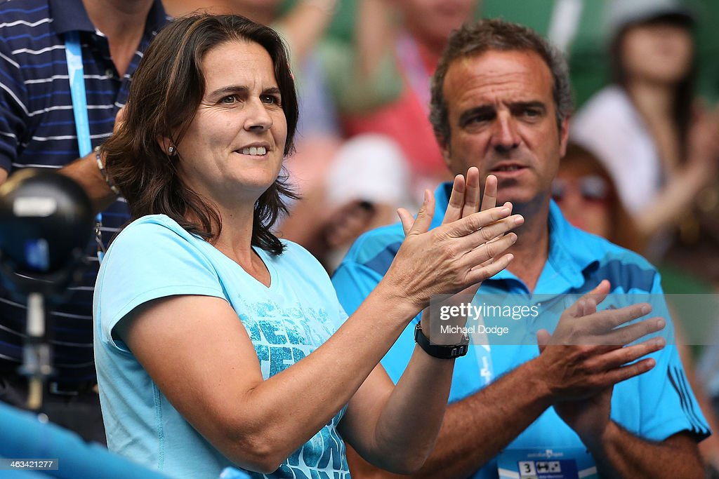 <a gi-track='captionPersonalityLinkClicked' href=/galleries/search?phrase=Conchita+Martinez&family=editorial&specificpeople=184563 ng-click='$event.stopPropagation()'>Conchita Martinez</a>, coach of Garbine Muguruza of Spain celebrates after she won in her third round match against Caroline Wozniacki of Denmark during day six of the 2014 Australian Open at Melbourne Park on January 18, 2014 in Melbourne, Australia.