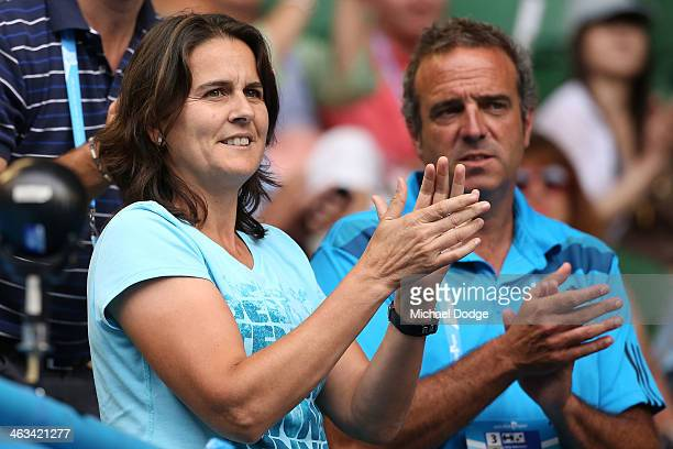 Conchita Martinez coach of Garbine Muguruza of Spain celebrates after she won in her third round match against Caroline Wozniacki of Denmark during...