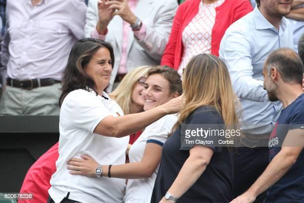 Conchita Martinez coach of Garbine Muguruza of Spain celebrates her victory while in the family box during the Ladies Singles final against Venus...
