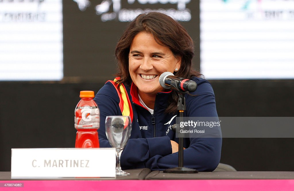 <a gi-track='captionPersonalityLinkClicked' href=/galleries/search?phrase=Conchita+Martinez&family=editorial&specificpeople=184563 ng-click='$event.stopPropagation()'>Conchita Martinez</a> coach of Spain during a press conference after the official draw ceremony prior to a match between Argentina and Spain as part of World Group II Play-off of Fed Cup 2015 at Tecnopolis on April 17, 2015 in Villa Martelli, Buenos Aires, Argentina. The match will decide who gets to maintain their position in the group.