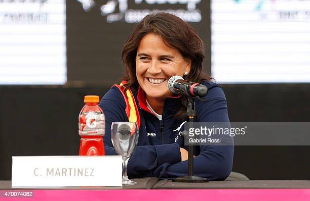 Conchita Martinez coach of Spain during a press conference after the official draw ceremony prior to a match between Argentina and Spain as part of...
