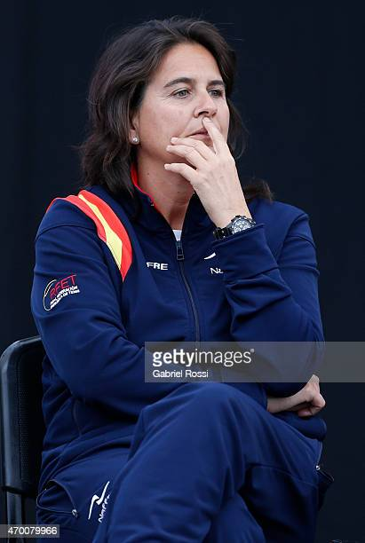 Conchita Martinez coach of Spain during the official draw ceremony prior to a match between Argentina and Spain as part of World Group II Playoff of...