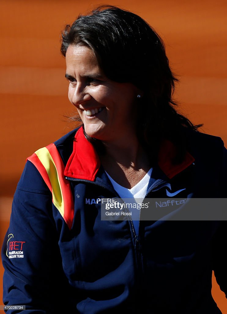 <a gi-track='captionPersonalityLinkClicked' href=/galleries/search?phrase=Conchita+Martinez&family=editorial&specificpeople=184563 ng-click='$event.stopPropagation()'>Conchita Martinez</a> coach of Spain looks on after finishing a round 2 match between Maria Irigoyen of Argentina and Lara Arruabarrena of Spain as part of World Group II Playoffs of Fed Cup 2015 between Argentina and Spain at Tecnopolis on April 18, 2015 in Villa Martelli, Buenos Aires, Argentina. The playoff will decide who gets to maintain their position in the group.