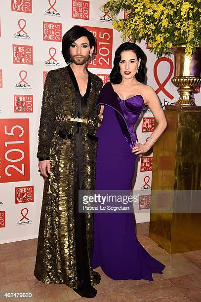 Conchita Wurst and Dita Von Teese attend the Sidaction Gala Dinner 2015 at Pavillon d'Armenonville on January 29 2015 in Paris France
