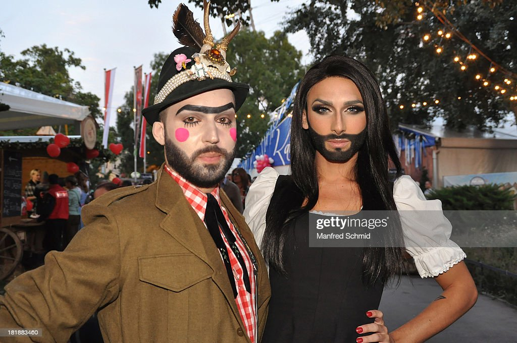 <a gi-track='captionPersonalityLinkClicked' href=/galleries/search?phrase=Conchita+Wurst&family=editorial&specificpeople=9407349 ng-click='$event.stopPropagation()'>Conchita Wurst</a> (R) and her husband Jaques Patriaque pose during the Wiener Wiesn Festival 2013 on September 25, 2013 in Vienna, Austria.