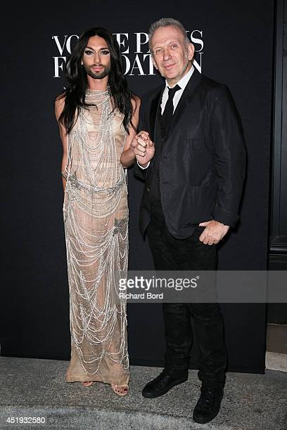 Conchita Wurst and Jean Paul Gaultier attend the Vogue Foundation Gala as part of Paris Fashion Week at Palais Galliera on July 9 2014 in Paris France