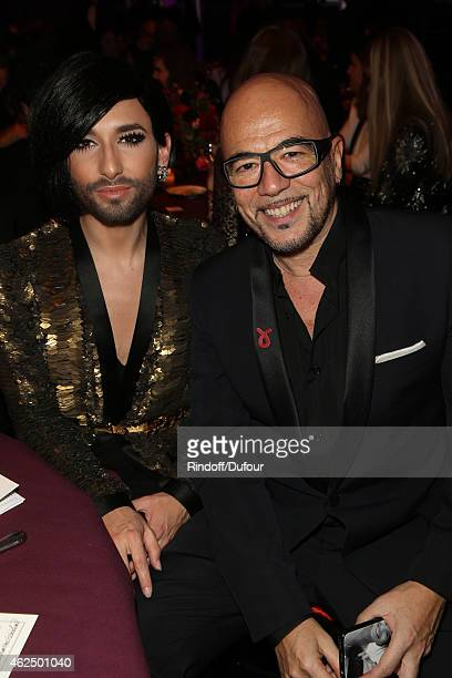 Conchita Wurst and Pascal Obispo attend of the Sidaction Gala Dinner 2015 at Pavillon d'Armenonville on January 29 2015 in Paris France