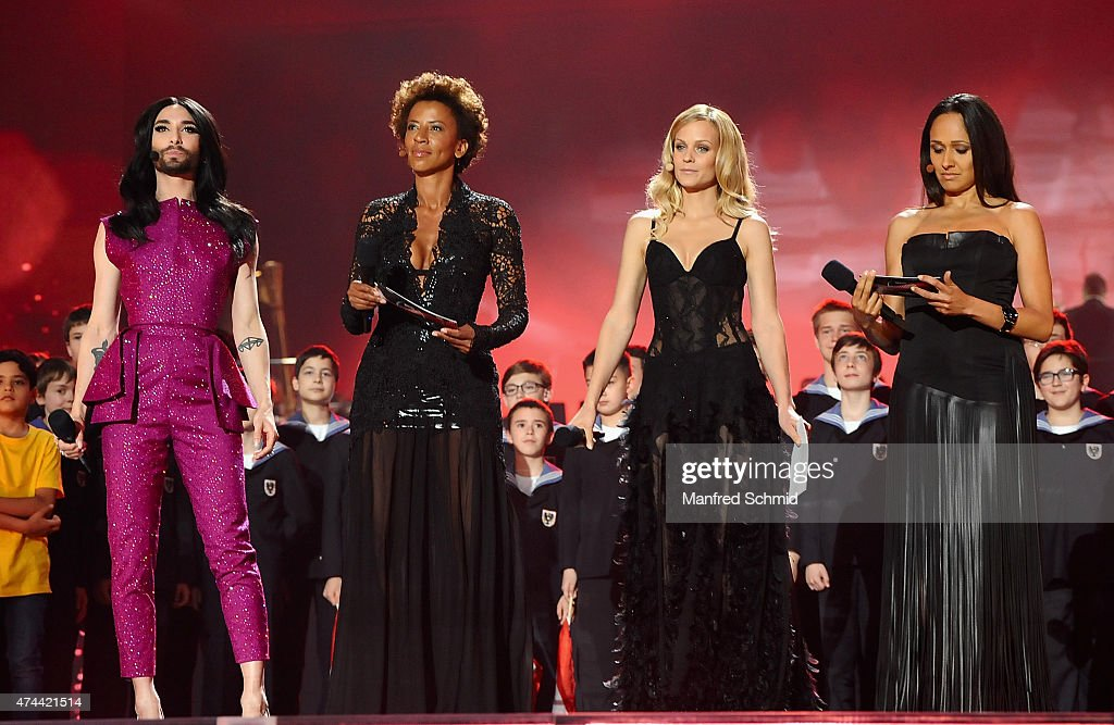 Conchita Wurst, Arabella Kiesbauer, Mirjam Weichselbraun and Alice Tumler perform on stage during rehearsals for the final of the Eurovision Song Contest 2015 on May 22, 2015 in Vienna, Austria. The final of the Eurovision Song Contest 2015 will take place on May 23, 2015.
