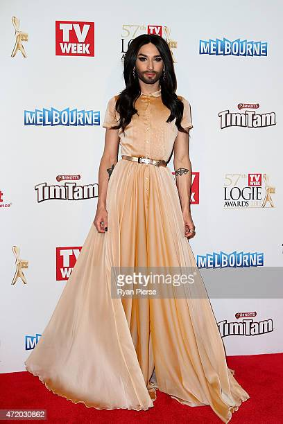 Conchita Wurst arrives at the 57th Annual Logie Awards at Crown Palladium on May 3 2015 in Melbourne Australia