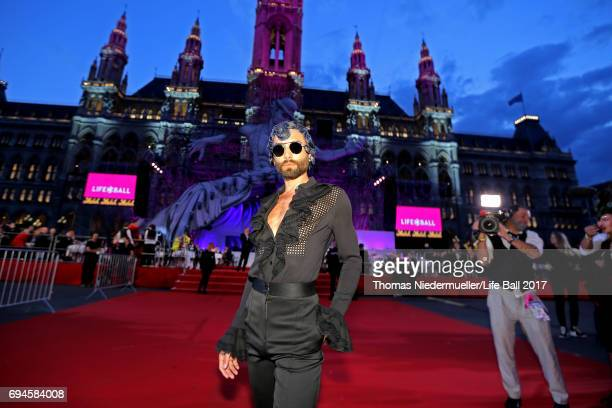 Conchita Wurst arrives for the Life Ball 2017 at City Hall on June 10 2017 in Vienna Austria