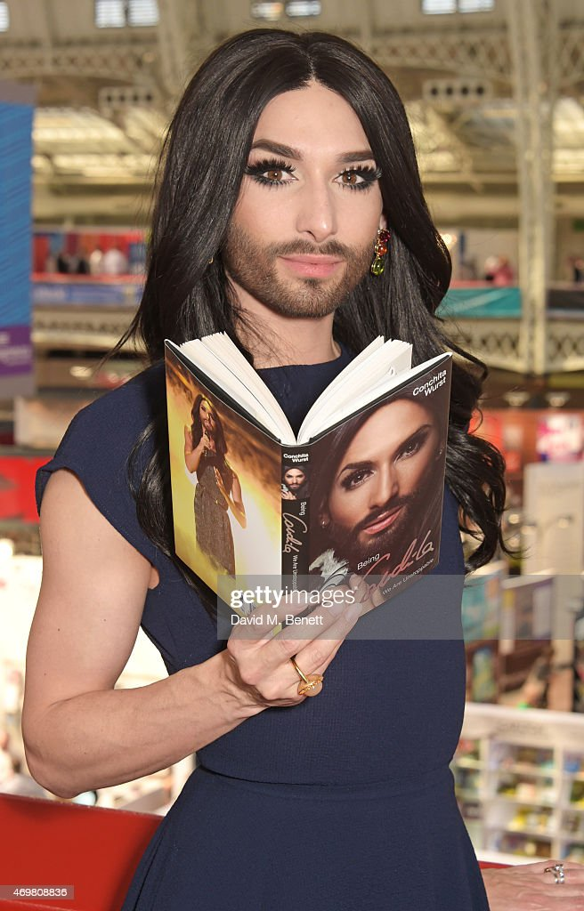 Conchita Wurst attends a photocall during the London Book Fair where ...