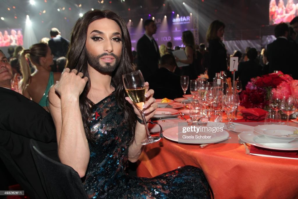 <a gi-track='captionPersonalityLinkClicked' href=/galleries/search?phrase=Conchita+Wurst&family=editorial&specificpeople=9407349 ng-click='$event.stopPropagation()'>Conchita Wurst</a> attends amfAR's 21st Cinema Against AIDS Gala Presented By WORLDVIEW, BOLD FILMS and BVLGARI at Hotel du Cap-Eden-Roc on May 22, 2014 in Cap d'Antibes, France.
