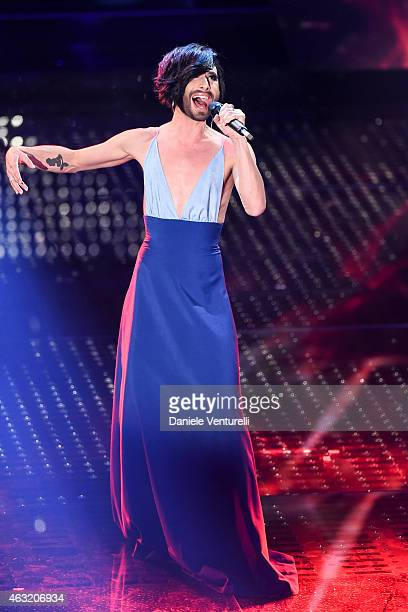 Conchita Wurst attends second night 65th Festival di Sanremo 2015 at Teatro Ariston on February 11 2015 in Sanremo Italy