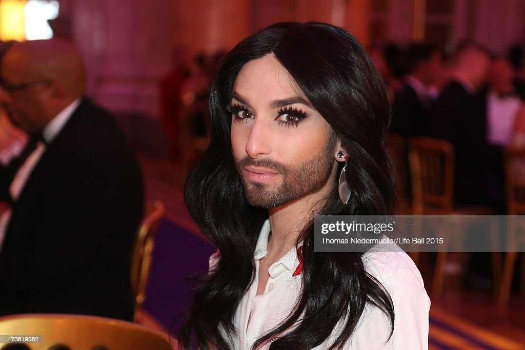 Conchita Wurst attends the AIDS Solidarity Gala at Hofburg Vienna on May 16, 2015 in Vienna, Austria.