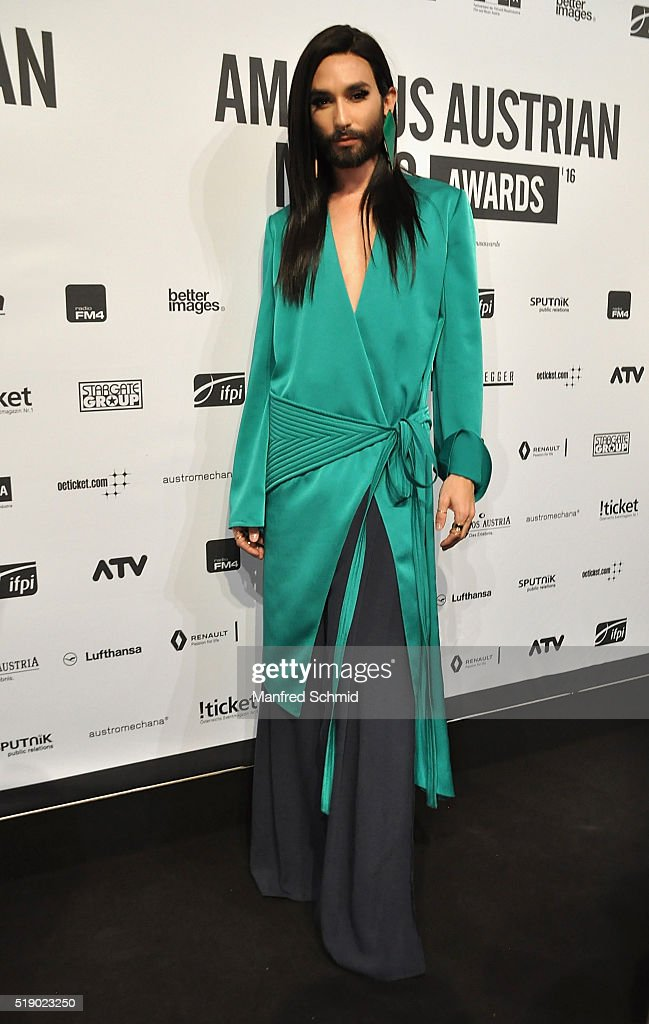 Conchita Wurst attends the Amadeus Austrian Music Award - Red Carpet at Volkstheater on April 3, 2016 in Vienna, Austria.