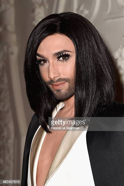 Conchita Wurst attends the Jean Paul Gaultier show as part of Paris Fashion Week Haute Couture Spring/Summer 2015 on January 28 2015 in Paris France