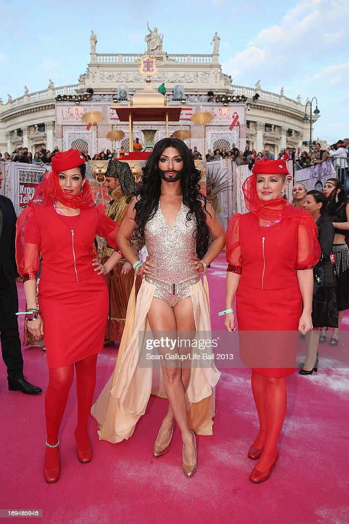 <a gi-track='captionPersonalityLinkClicked' href=/galleries/search?phrase=Conchita+Wurst&family=editorial&specificpeople=9407349 ng-click='$event.stopPropagation()'>Conchita Wurst</a> attends the 'Life Ball 2013 - Magenta Carpet Arrivals' at City Hall on May 25, 2013 in Vienna, Austria.