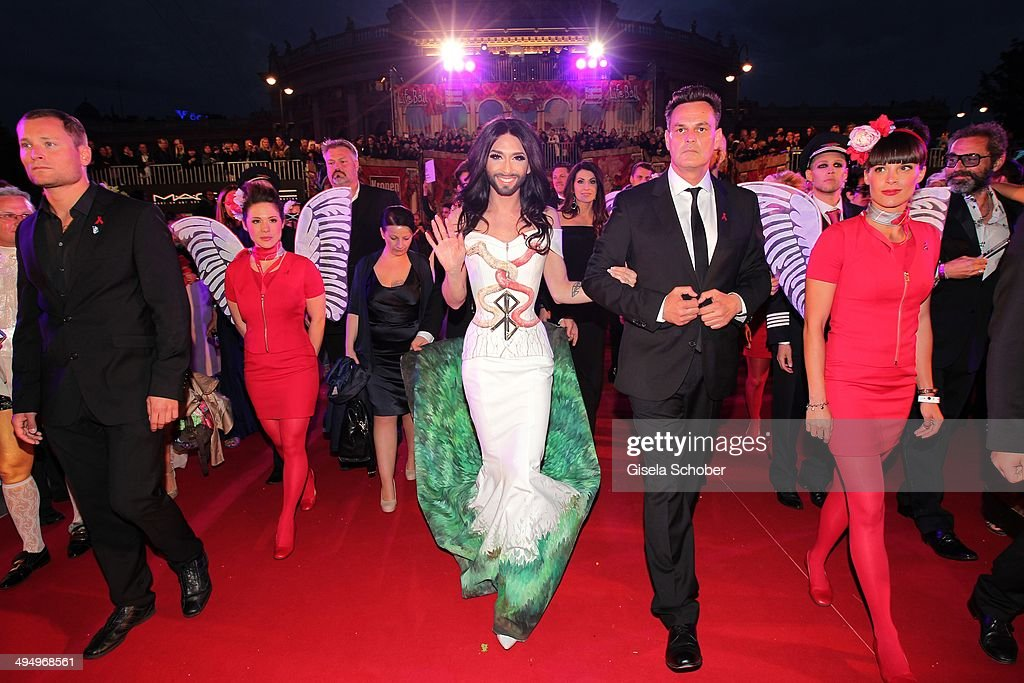 <a gi-track='captionPersonalityLinkClicked' href=/galleries/search?phrase=Conchita+Wurst&family=editorial&specificpeople=9407349 ng-click='$event.stopPropagation()'>Conchita Wurst</a> attends the Life Ball 2014 at City Hall on May 31, 2014 in Vienna, Austria.
