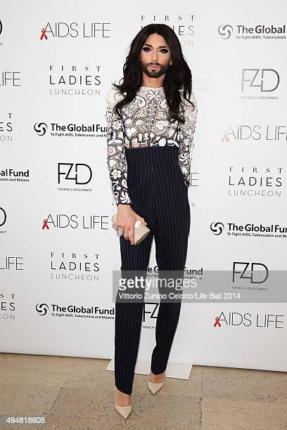 Conchita Wurst attends the Life Ball 2014 First Ladies Luncheon at Belvedere Palace on May 31 2014 in Vienna Austria