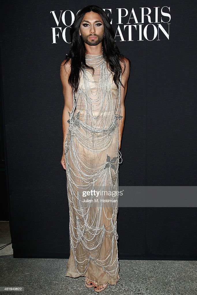 Conchita Wurst attends the Vogue Foundation Gala as part of Paris Fashion Week at Palais Galliera on July 9, 2014 in Paris, France.